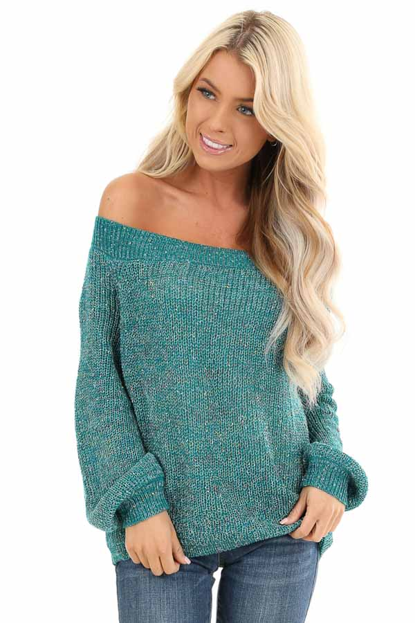 Teal Speckled Off Shoulder Lightweight Knit Sweater front close up