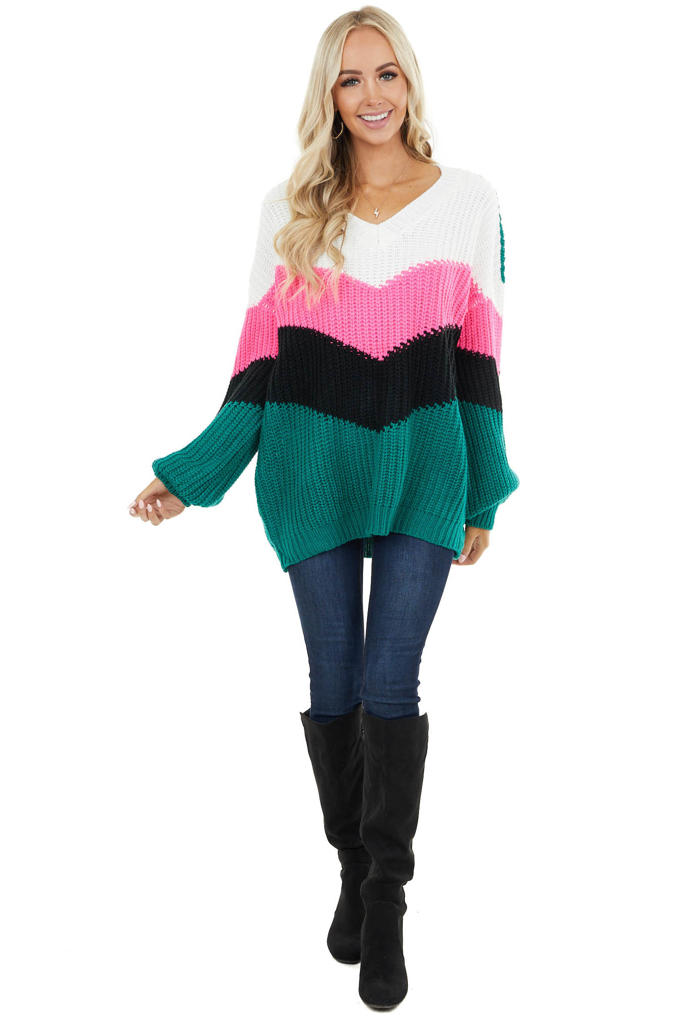 Forest Green and Hot Pink Long Sleeve Color Block Sweater