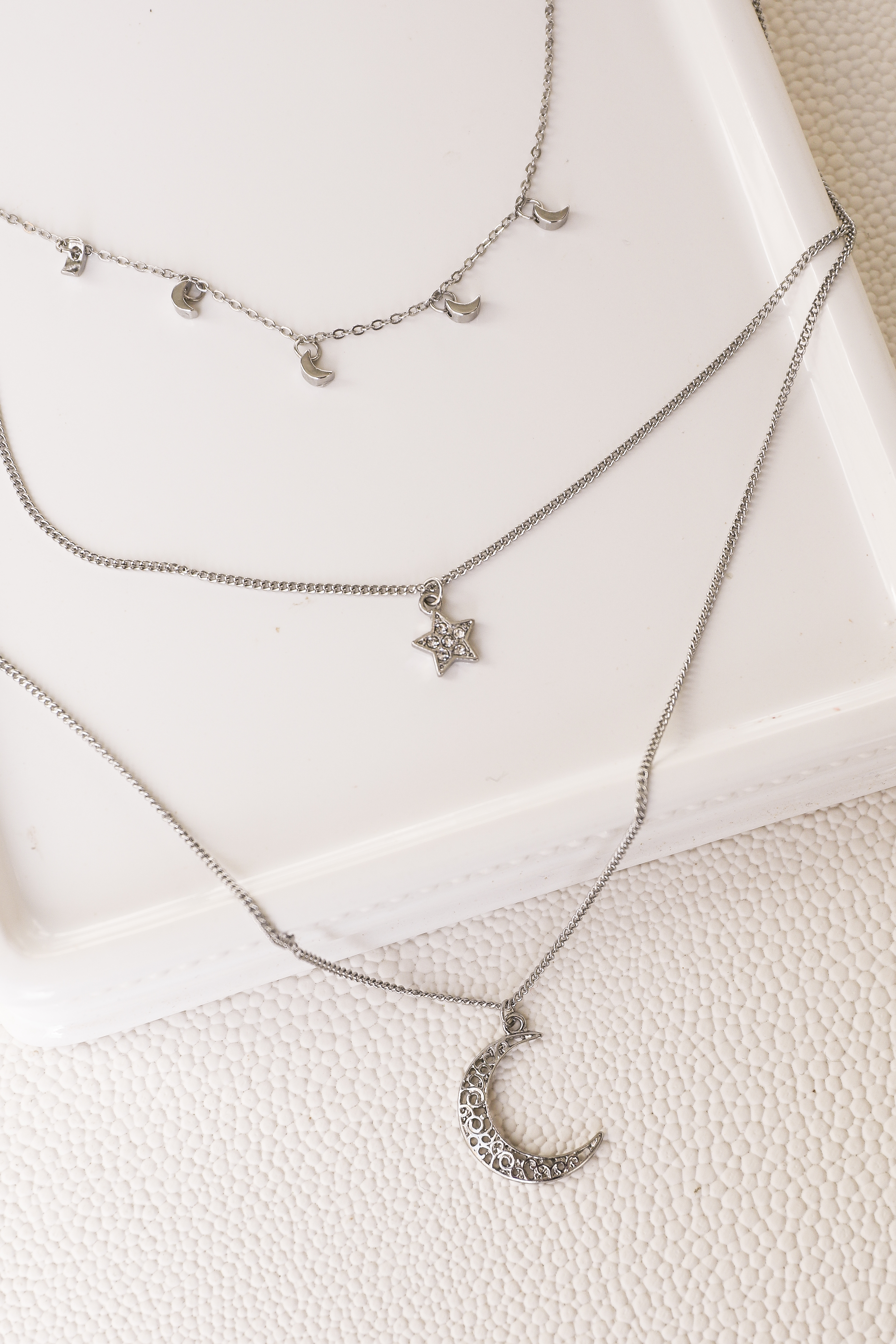 Silver Layered Necklace with Moon and Star Pendants