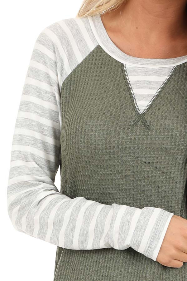 Olive Waffle Knit Top with Heather Grey Striped Long Sleeves detail