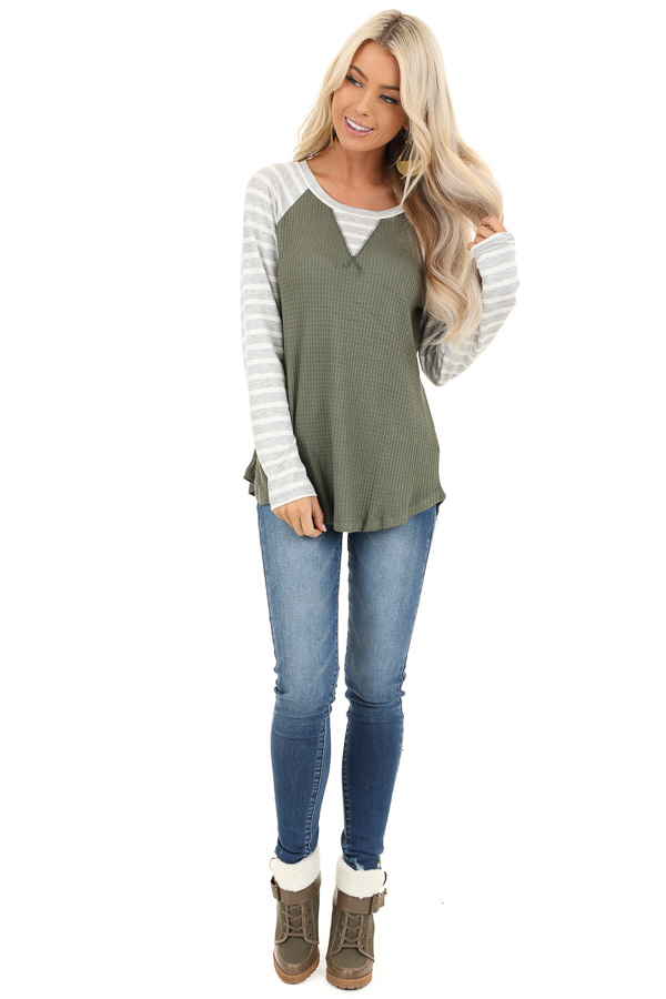 Olive Waffle Knit Top with Heather Grey Striped Long Sleeves front full body