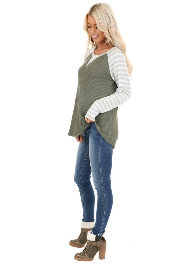 Olive Waffle Knit Top with Heather Grey Striped Long Sleeves side full body