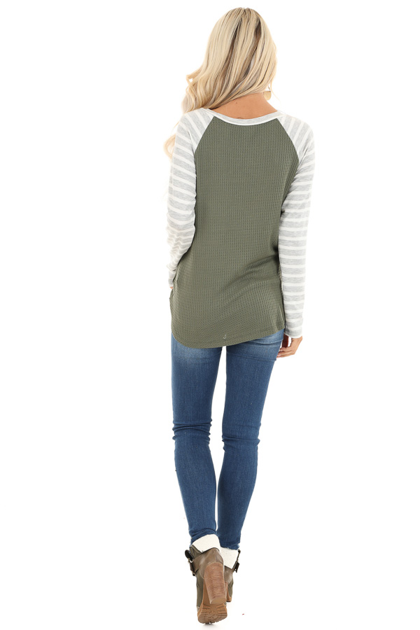 Olive Waffle Knit Top with Heather Grey Striped Long Sleeves back full body