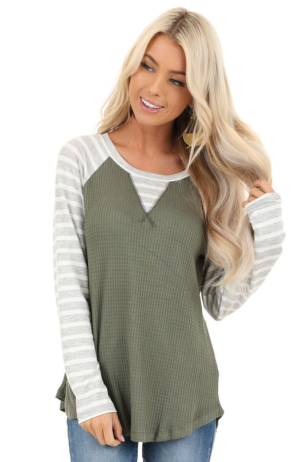 Olive Waffle Knit Top with Heather Grey Striped Long Sleeves front close up