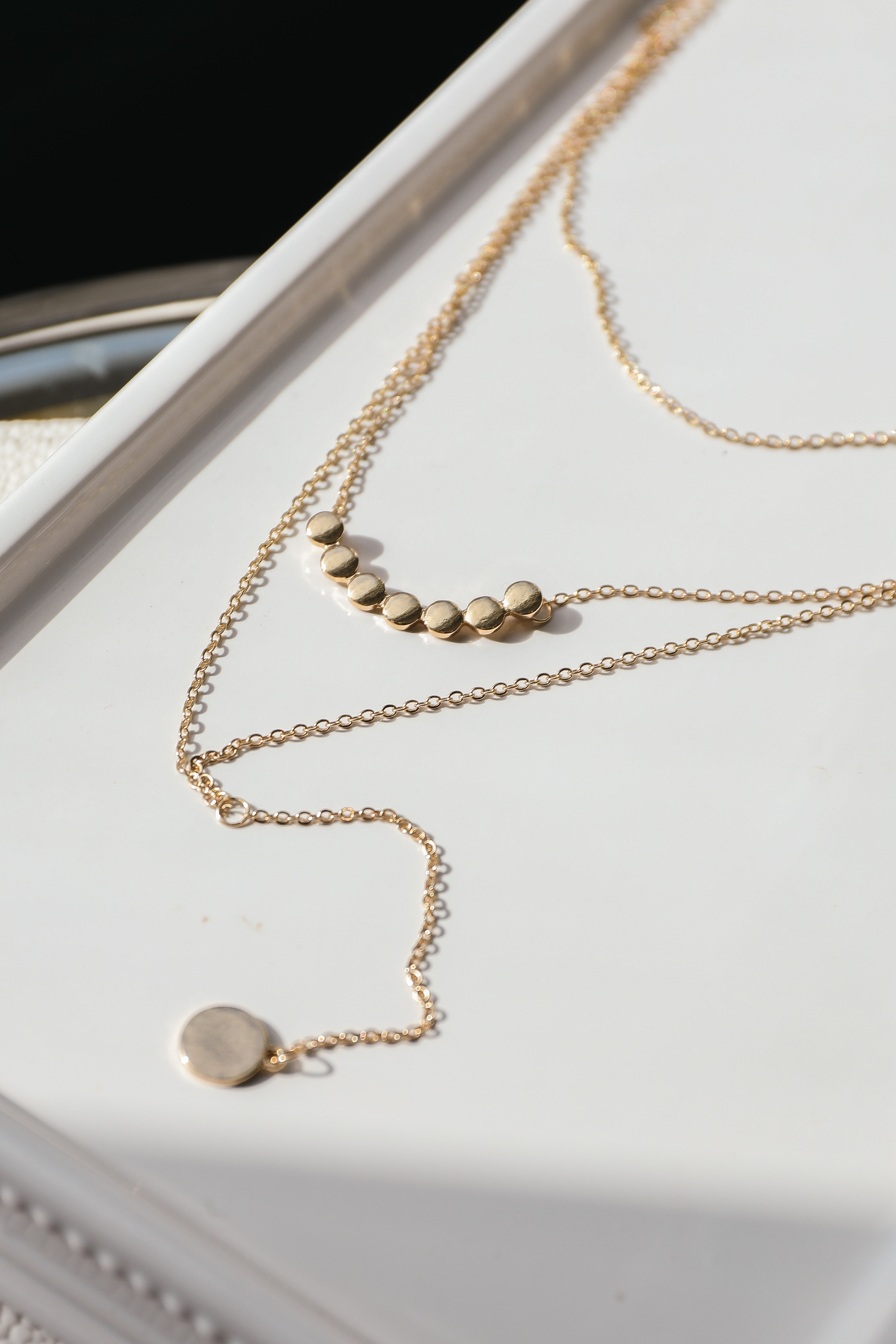 Antique Gold Layered Necklace with Coin Shaped Pendants