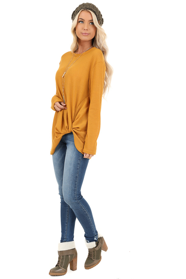 Deep Mustard Long Sleeve Waffle Knit Top with Twist Detail side full body