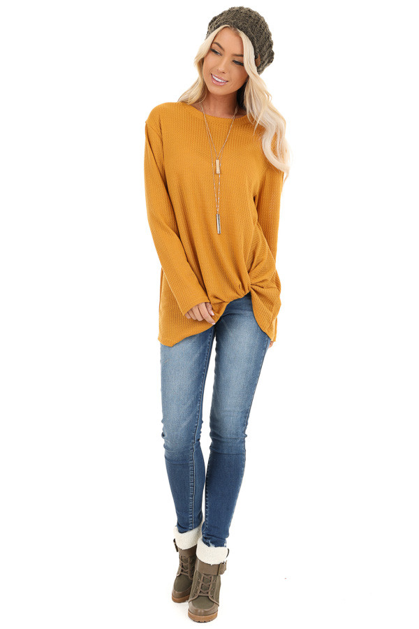 Deep Mustard Long Sleeve Waffle Knit Top with Twist Detail front full body