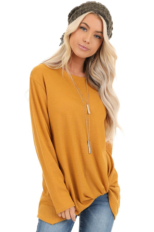 Deep Mustard Long Sleeve Waffle Knit Top with Twist Detail front close up