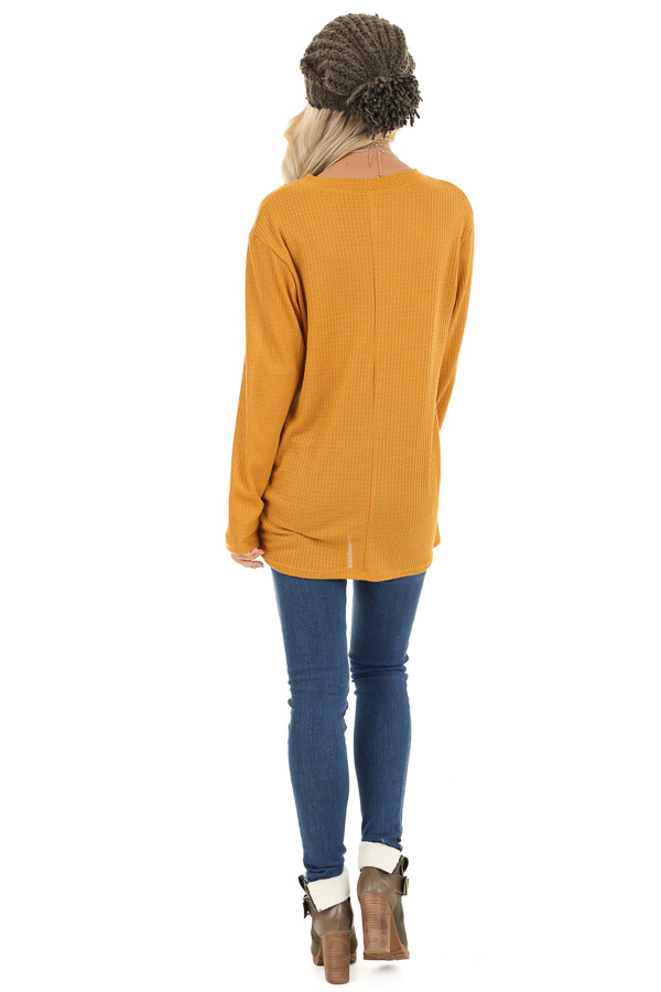 Deep Mustard Long Sleeve Waffle Knit Top with Twist Detail back full body