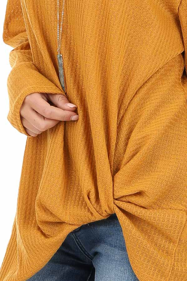 Deep Mustard Long Sleeve Waffle Knit Top with Twist Detail detail