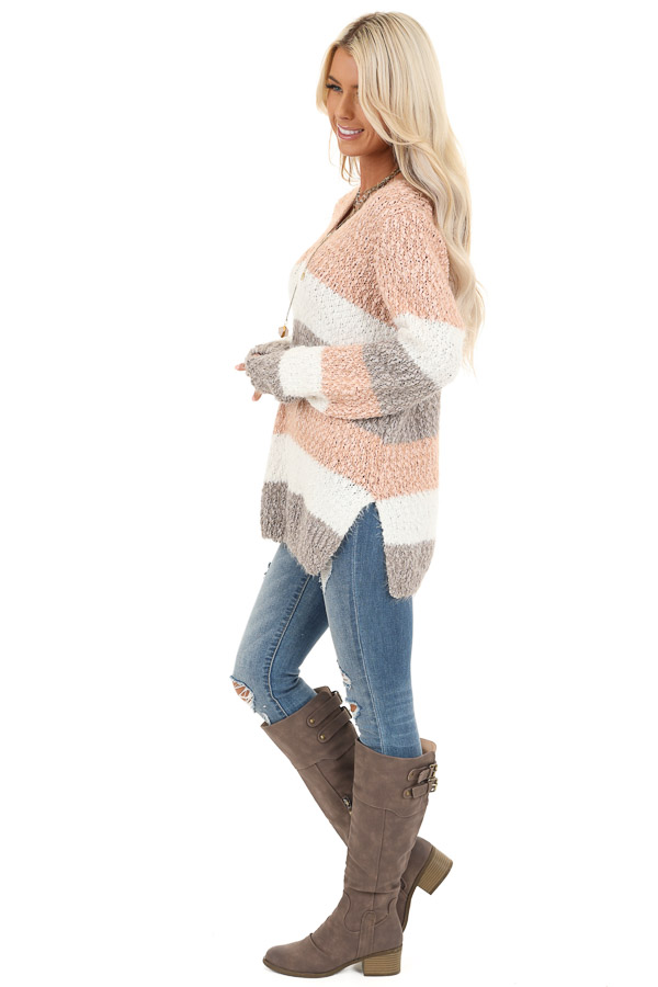 Blush and Heather Grey Striped Sweater Top with V Neckline side full body