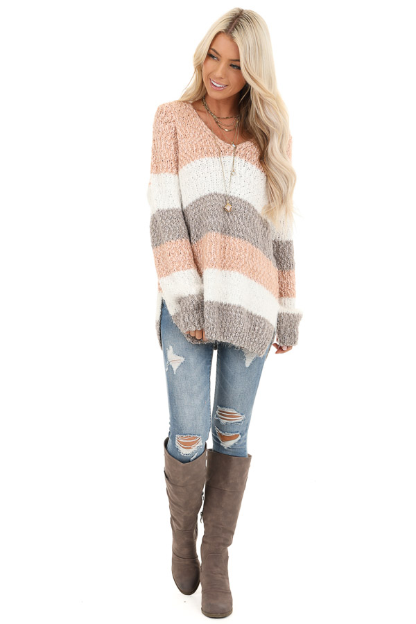 Blush and Heather Grey Striped Sweater Top with V Neckline front full body