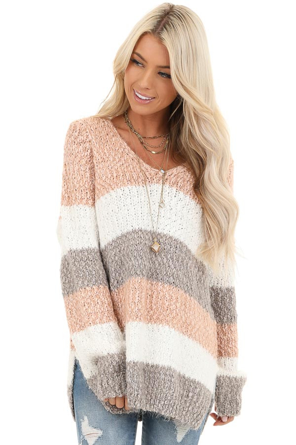Blush and Heather Grey Striped Sweater Top with V Neckline front close up