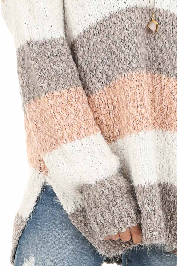 Blush and Heather Grey Striped Sweater Top with V Neckline detail