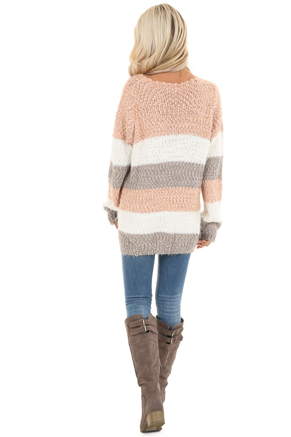 Blush and Heather Grey Striped Sweater Top with V Neckline back full body