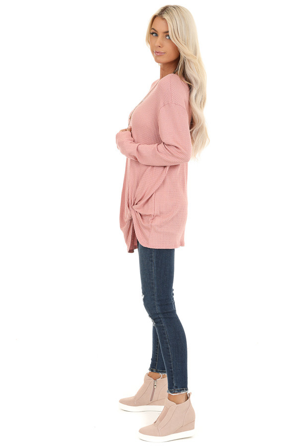 Baby Pink Long Sleeve Waffle Knit Top with Twist Detail side full body