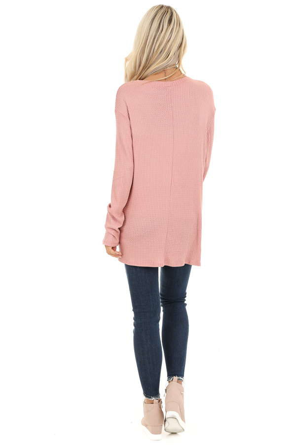 Baby Pink Long Sleeve Waffle Knit Top with Twist Detail back full body