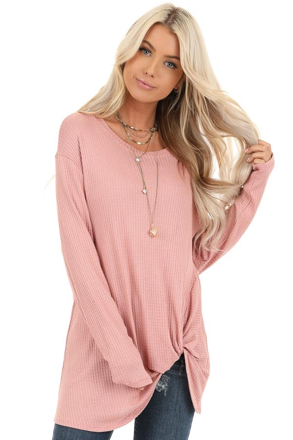 Baby Pink Long Sleeve Waffle Knit Top with Twist Detail front close up