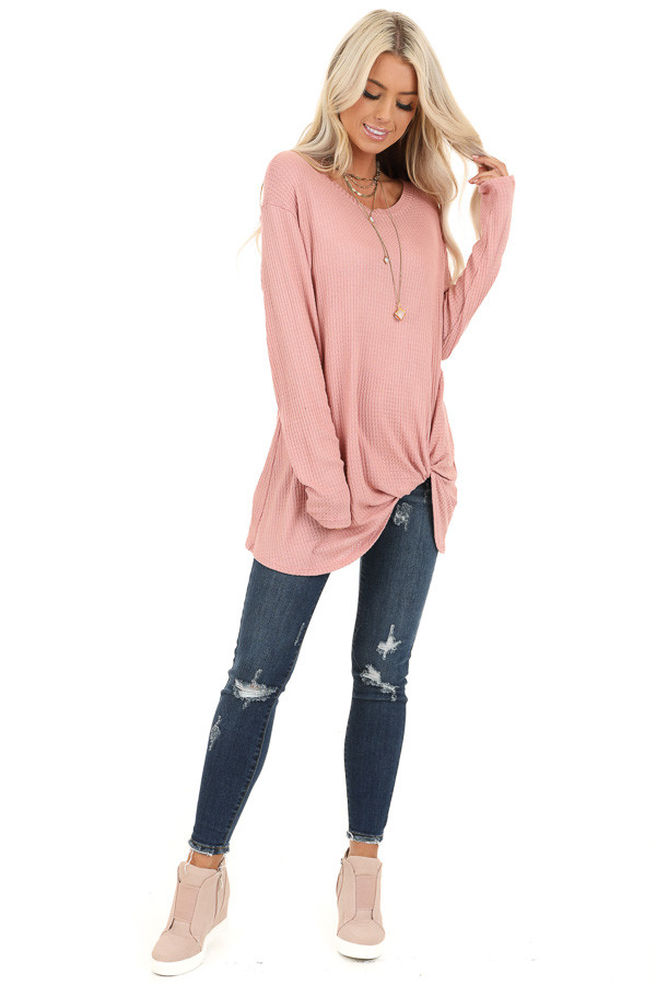 Baby Pink Long Sleeve Waffle Knit Top with Twist Detail front full body