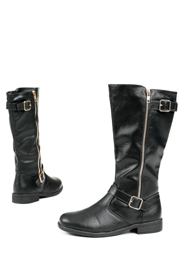 Black Tall Boots with Gold Zipper and Buckle Details
