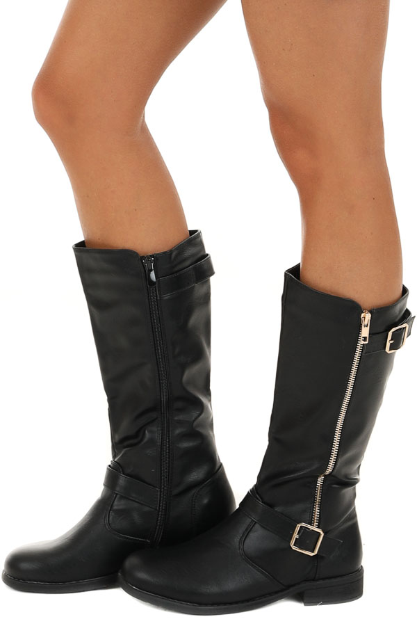 Black Tall Boots with Gold Zipper and Buckle Details side view