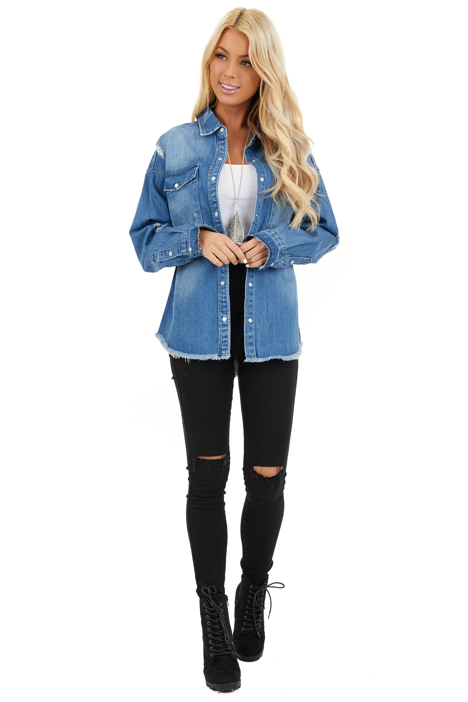 Medium Wash Distressed Denim Jacket with Front Pockets front full body