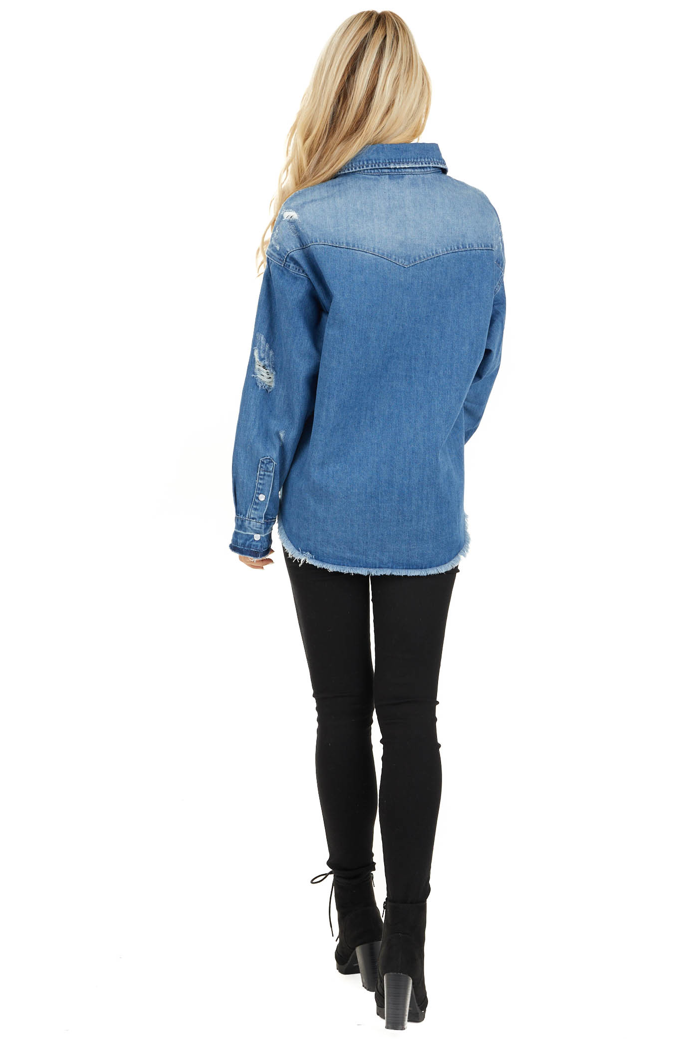 Medium Wash Distressed Denim Jacket with Front Pockets back full body