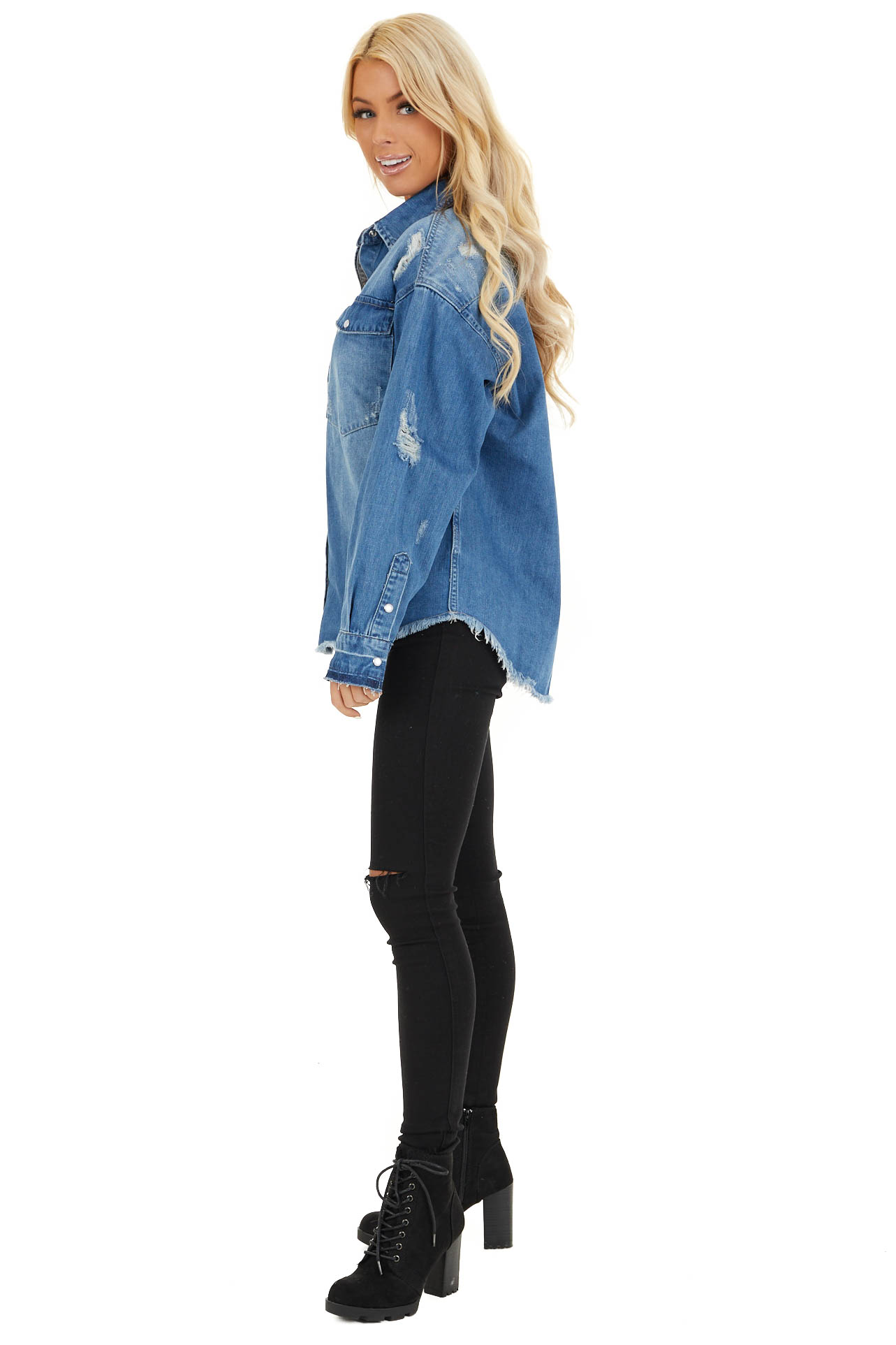 Medium Wash Distressed Denim Jacket with Front Pockets side full body