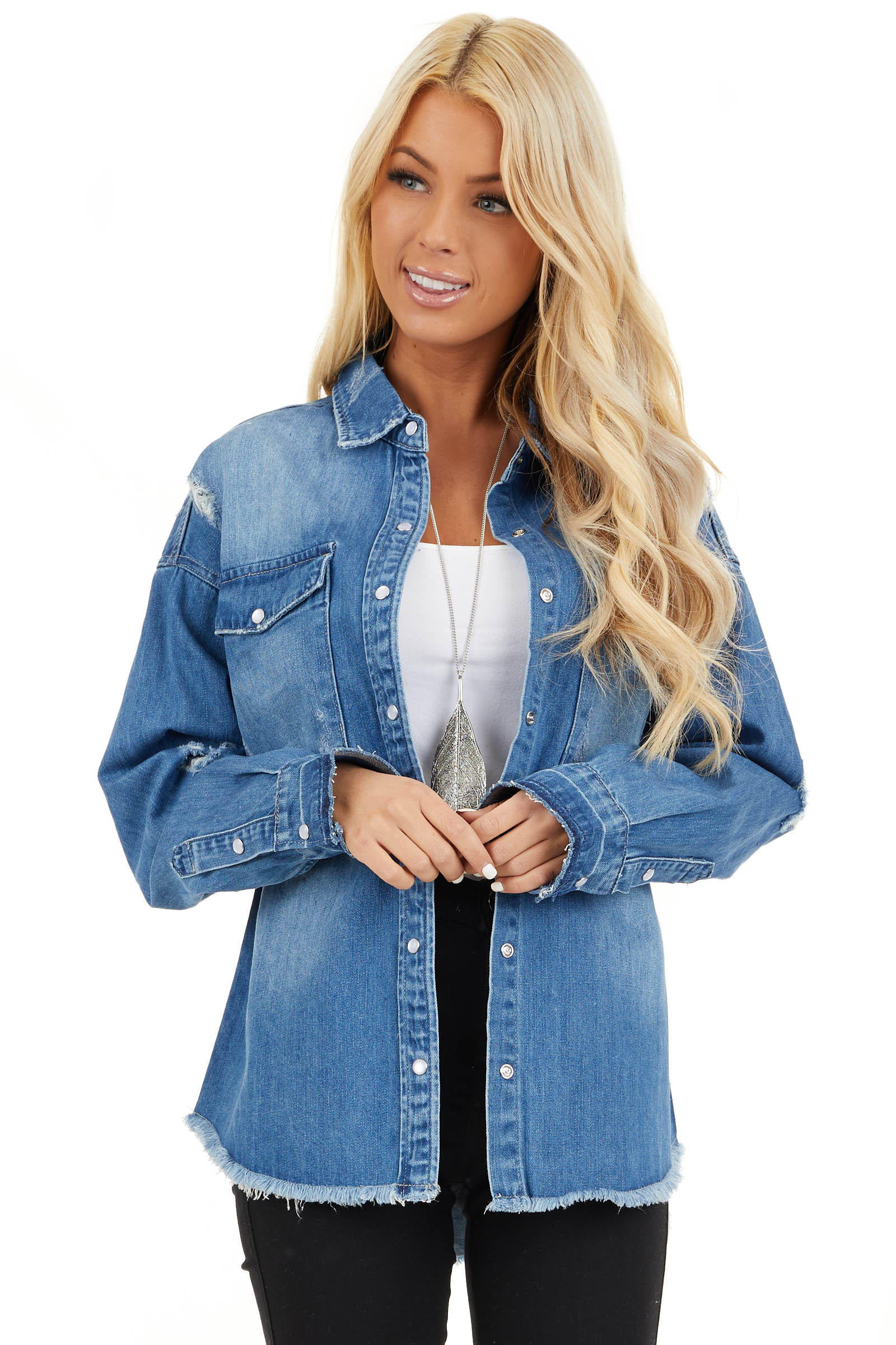 Medium Wash Distressed Denim Jacket with Front Pockets front close up