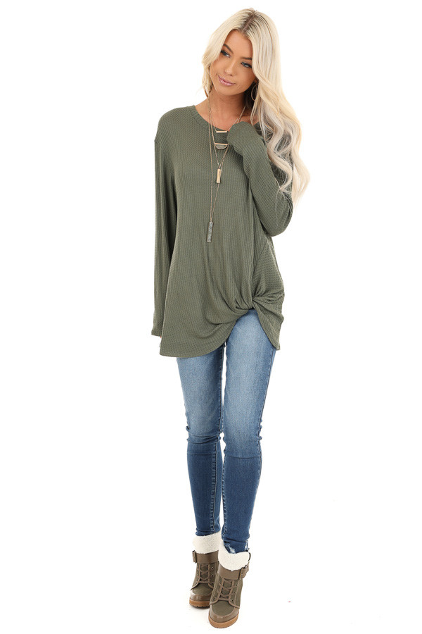 Olive Green Long Sleeve Waffle Knit Top with Twist Detail front full body
