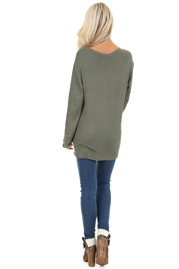 Olive Green Long Sleeve Waffle Knit Top with Twist Detail back full body