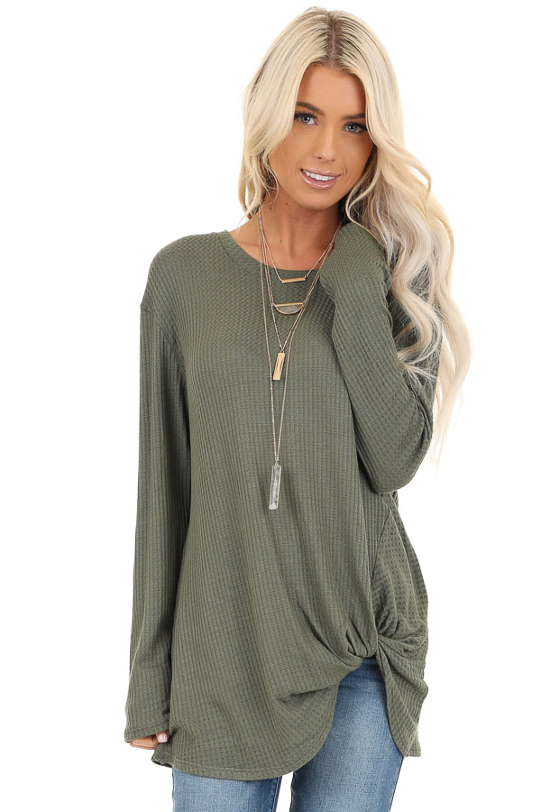 Olive Green Long Sleeve Waffle Knit Top with Twist Detail front close up