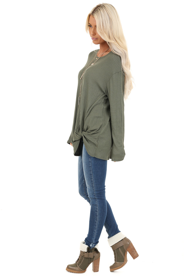 Olive Green Long Sleeve Waffle Knit Top with Twist Detail side full body