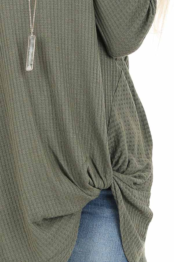 Olive Green Long Sleeve Waffle Knit Top with Twist Detail detail