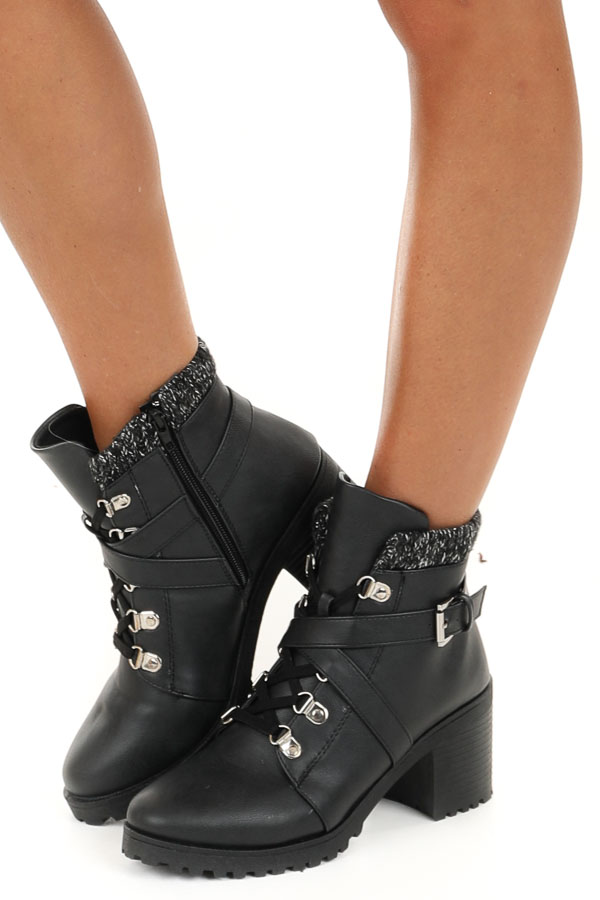 Black Lace Up Faux Leather Booties with Buckle Detail side view