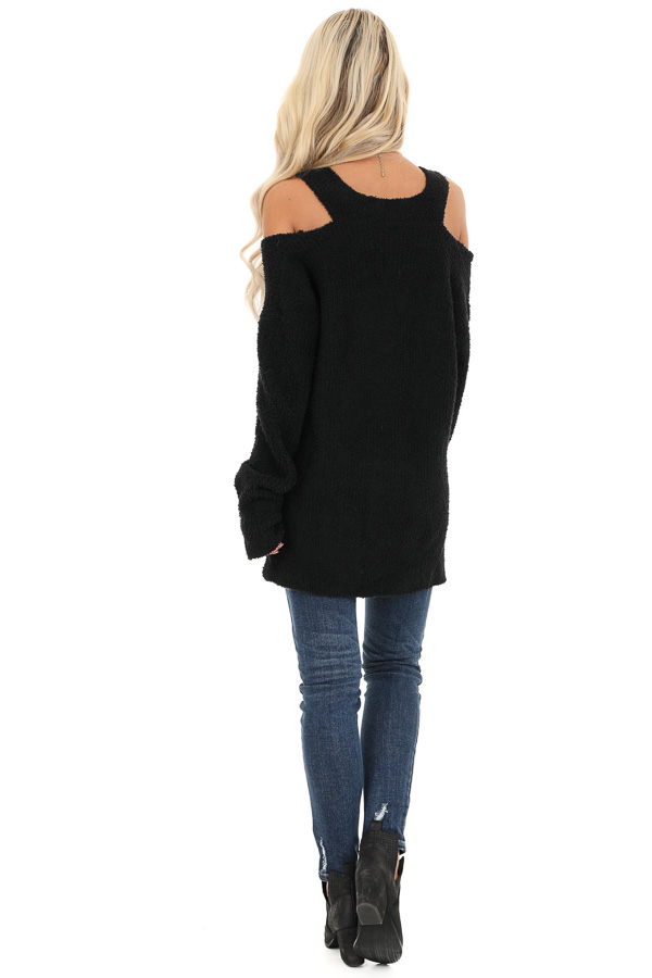 Black V Neck Soft Sweater Top with Cold Shoulders back full body