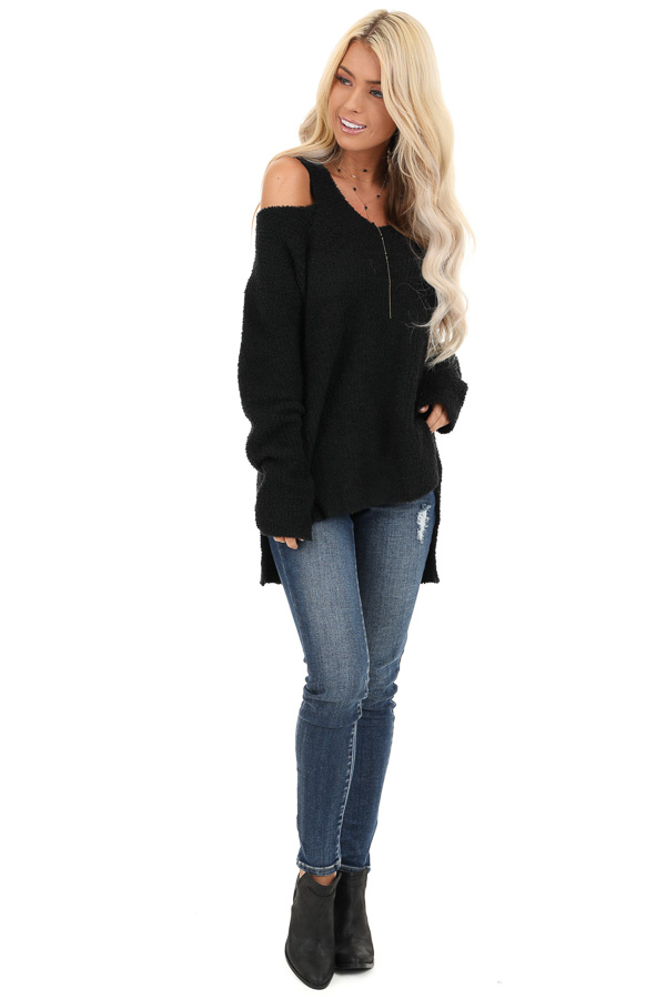 Black V Neck Soft Sweater Top with Cold Shoulders front full body
