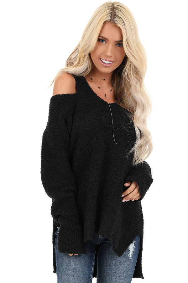 Black V Neck Soft Sweater Top with Cold Shoulders front close up