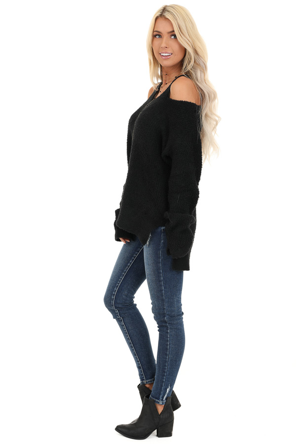 Black V Neck Soft Sweater Top with Cold Shoulders side full body