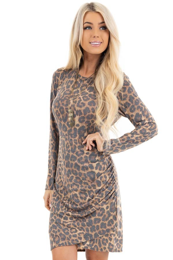 Mocha Leopard Print Long Sleeve Dress with Gathered Detail front close up