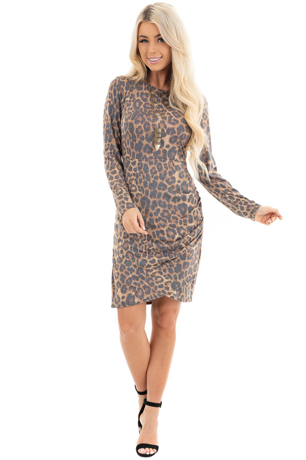 Mocha Leopard Print Long Sleeve Dress with Gathered Detail front full body