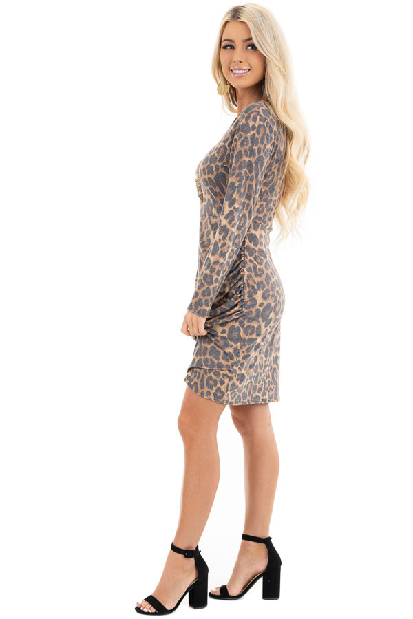 Mocha Leopard Print Long Sleeve Dress with Gathered Detail side full body