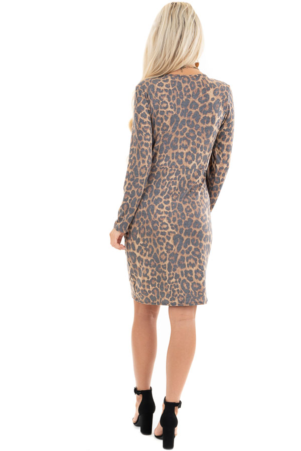 Mocha Leopard Print Long Sleeve Dress with Gathered Detail back full body