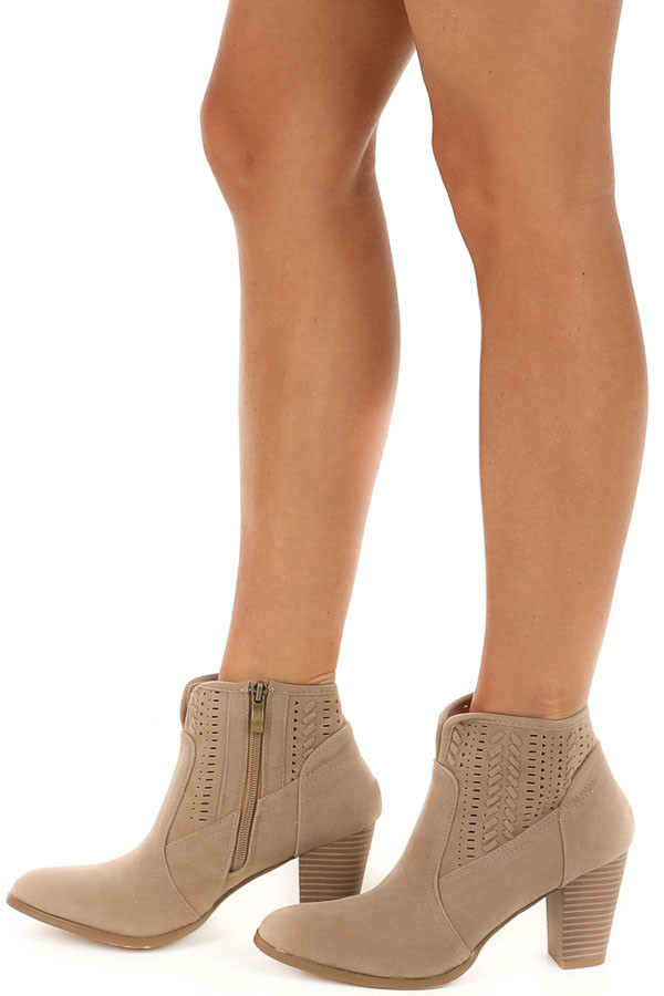 Taupe High Heeled Ankle Booties with Perforated Details side view