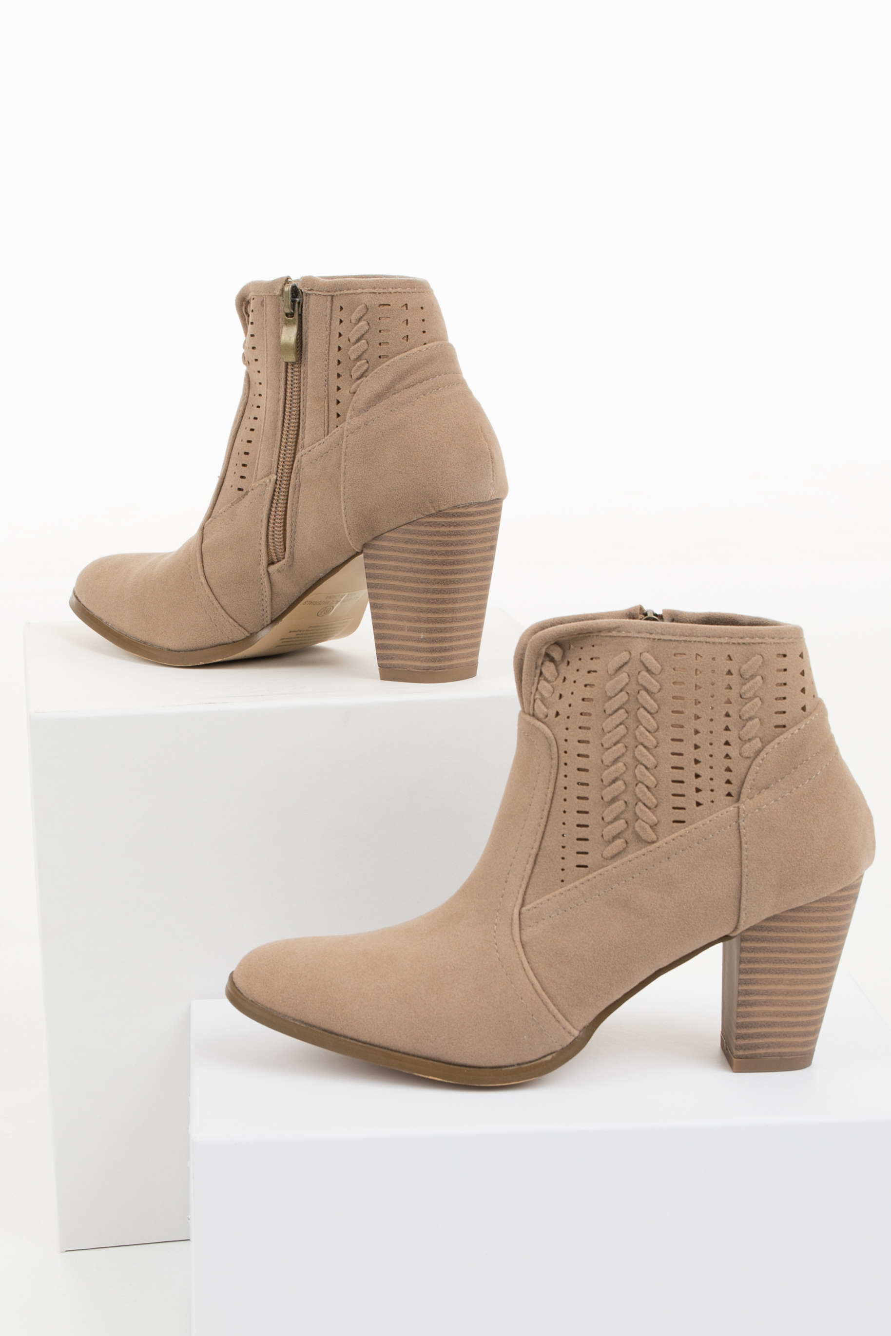 Taupe High Heeled Ankle Booties with Perforated Details detail