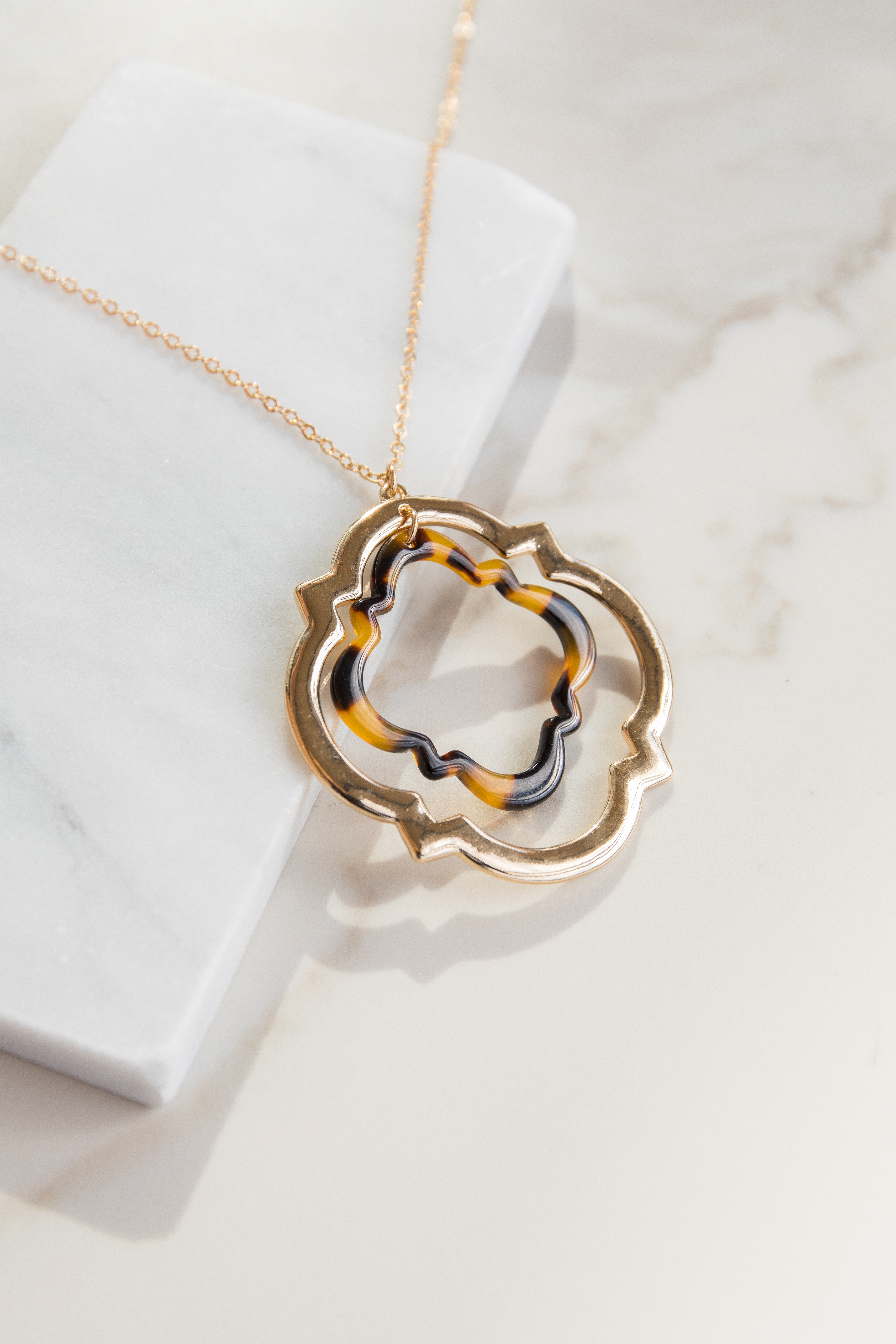 Gold Necklace with Geometric Tortoise Shell Print Pendant