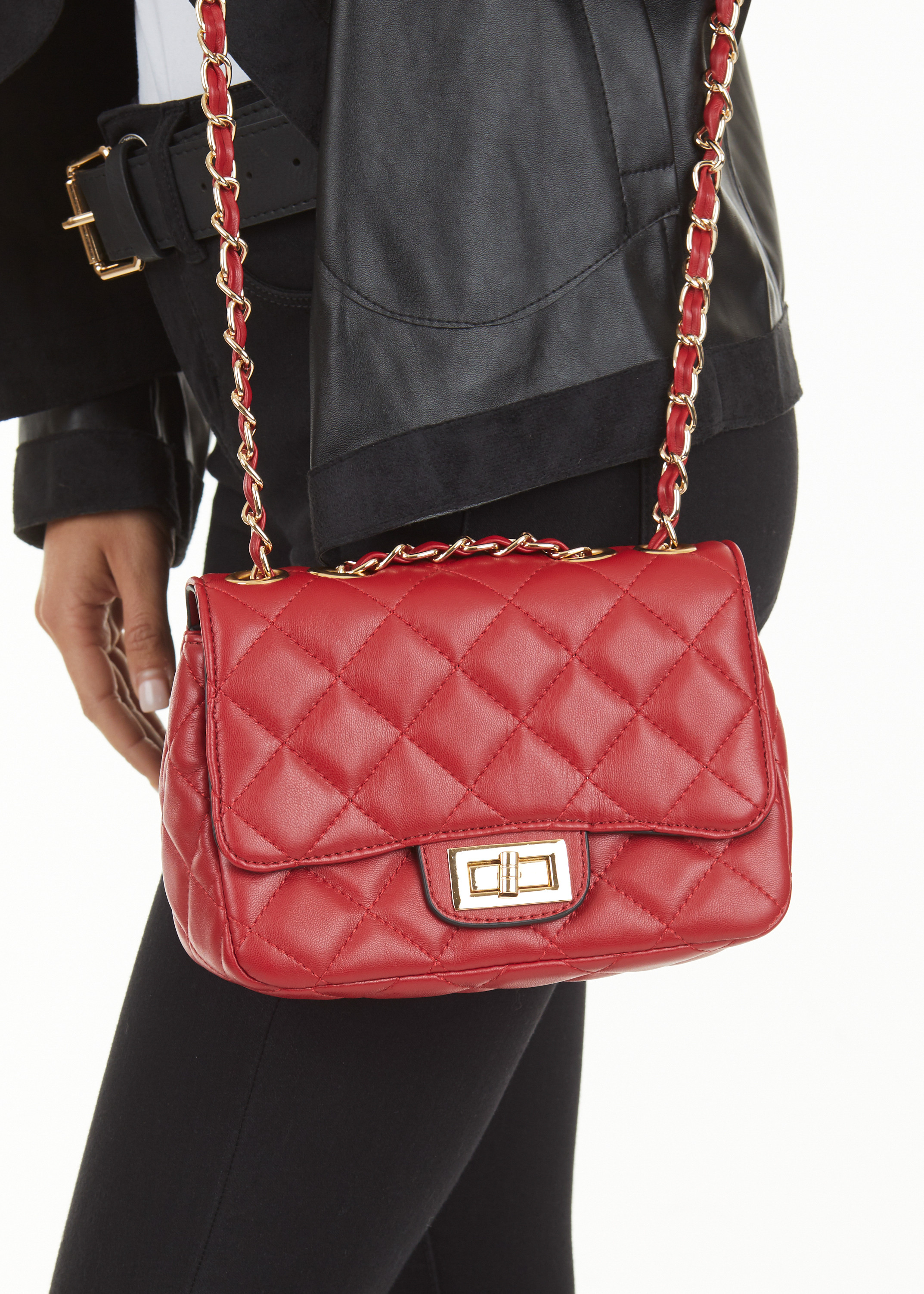 Cherry Red Quilted Over the Shoulder Bag