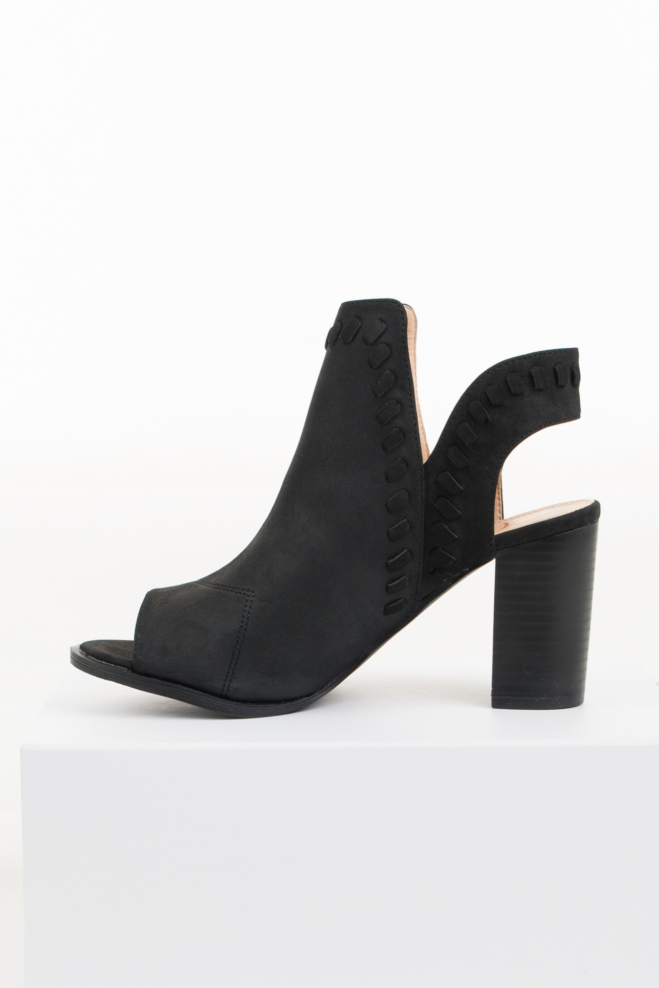 Black Open Toed Heels with Heel Cutout and Braided Details detail