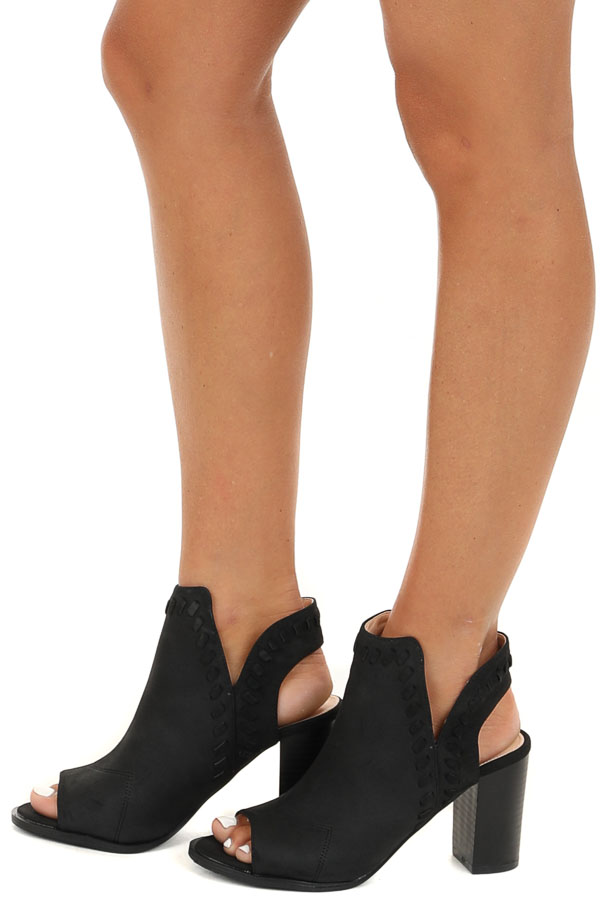 Black Open Toed Heels with Heel Cutout and Braided Details side view