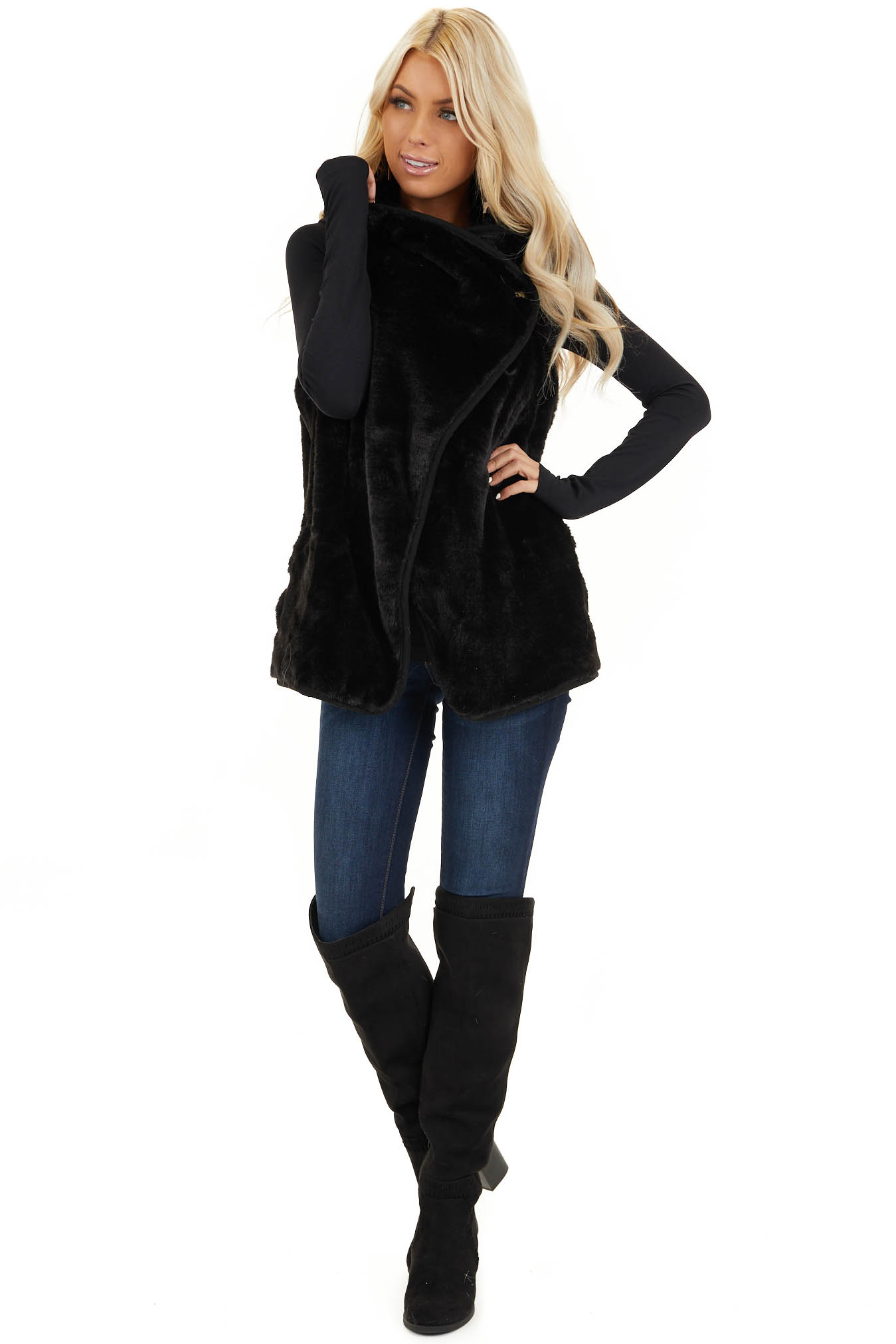 Black Furry Vest with Overlap and Button Detail front full body